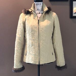 CAbi Quilted Faux Fur Trimmed Jacket